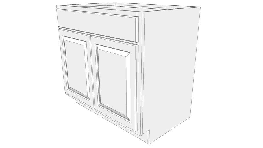 Briarwood Base Cabinet SB36B - Base Cabinet, Butt Doors, Full Width Drawer Front