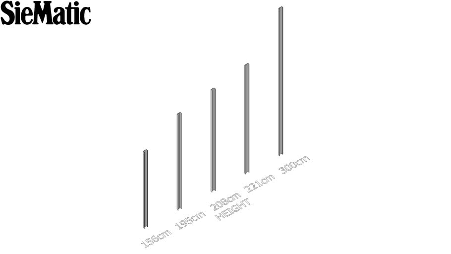 Grip Rail Recess Channel Between Tall, Siematic Kitchen Cabinet Dimensions