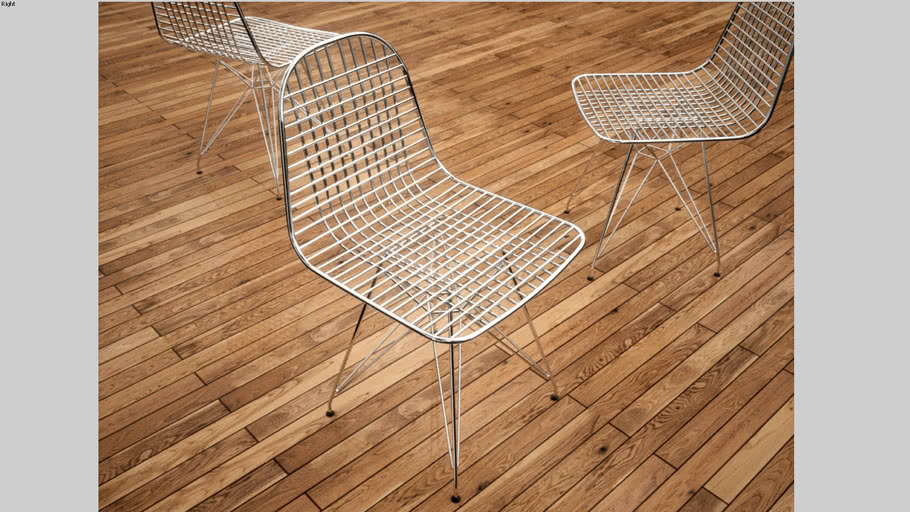 Herman Miller Eames Wire Chair, Fixed, High Poly + Render