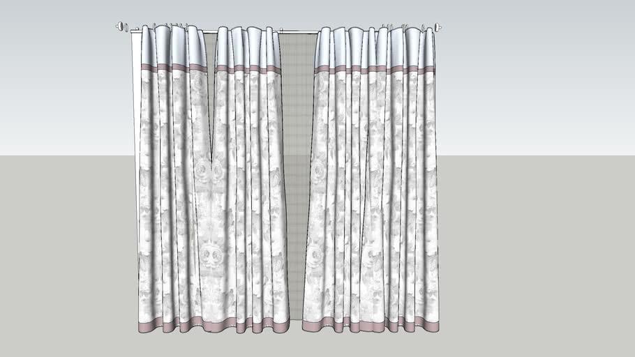 Curtain flowery pattern