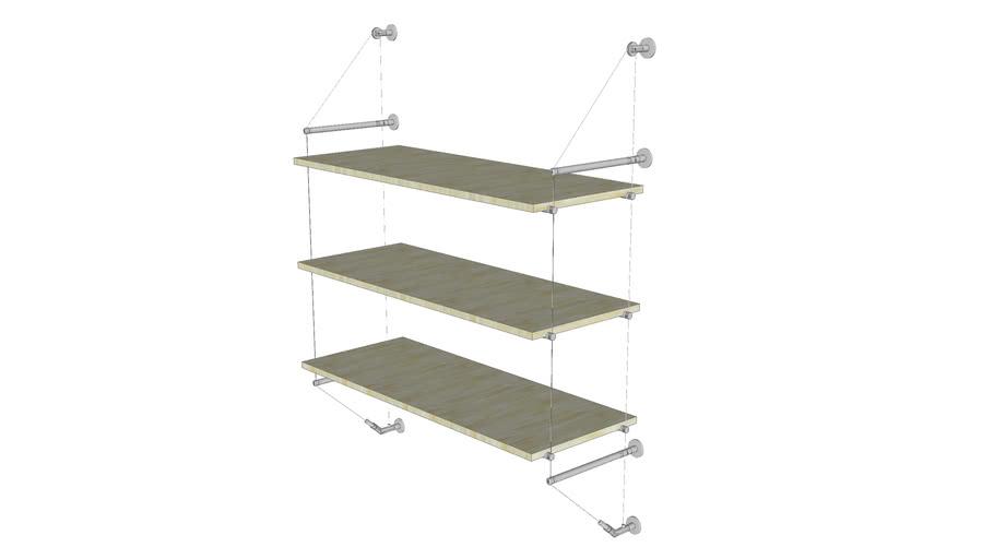 Cable Wall Unit - 3 Wood Shelves - Base