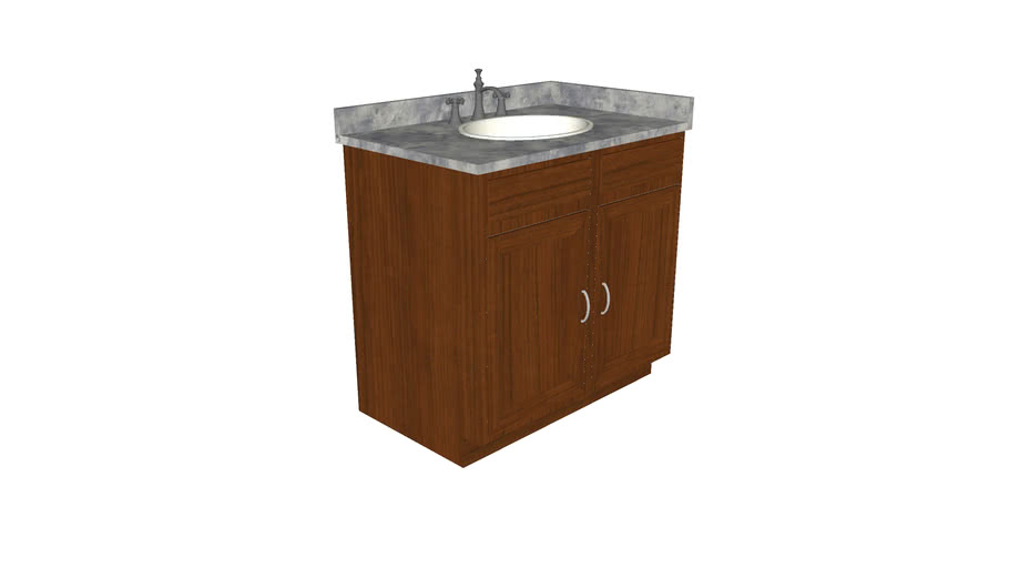 Bathroom Sink 36in with Cabinet  - Detailed