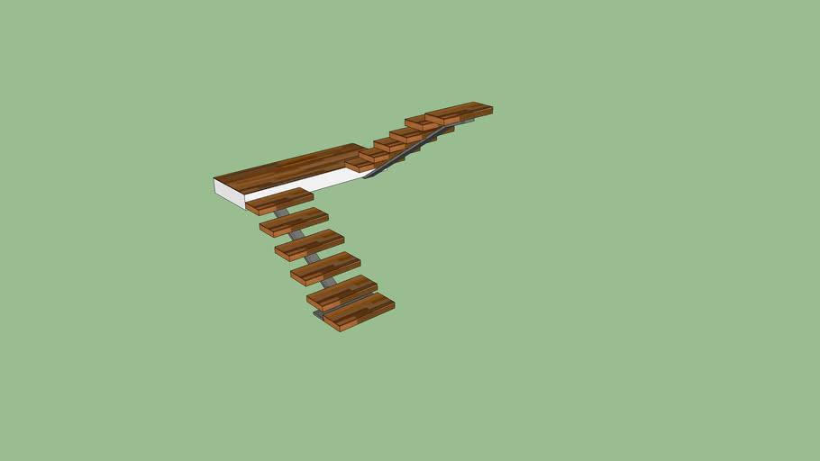 Escada moderna de madeira F.A