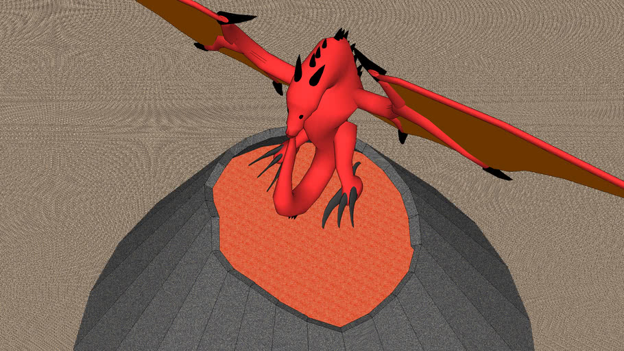 volcano with red dragon
