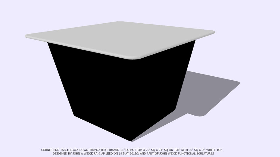 END TABLE CORNER BLACK TRUNCATED PYRAMID WHITE TOP BY JOHN A WEICK RA