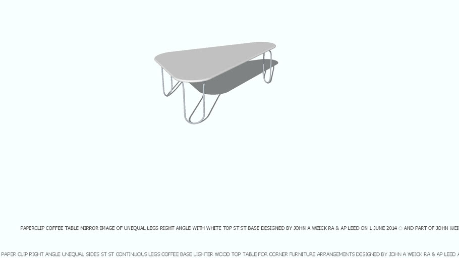 COFFEE TABLE PAPER CLIP TRIANGLE MIRROR IMAGE WHITE TOP DESIGNED BY JOHN A WEICK RA & AP LEED