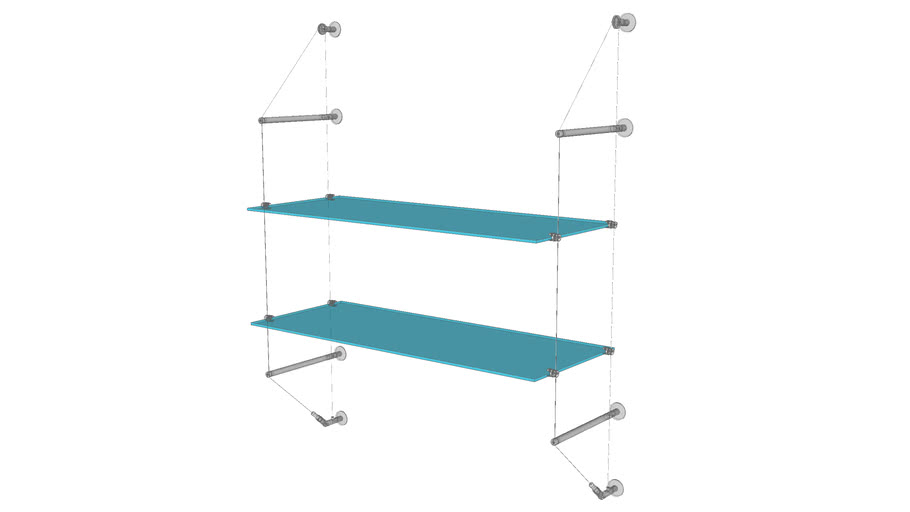 Cable Wall Unit -  2 Glass Shelves - Base