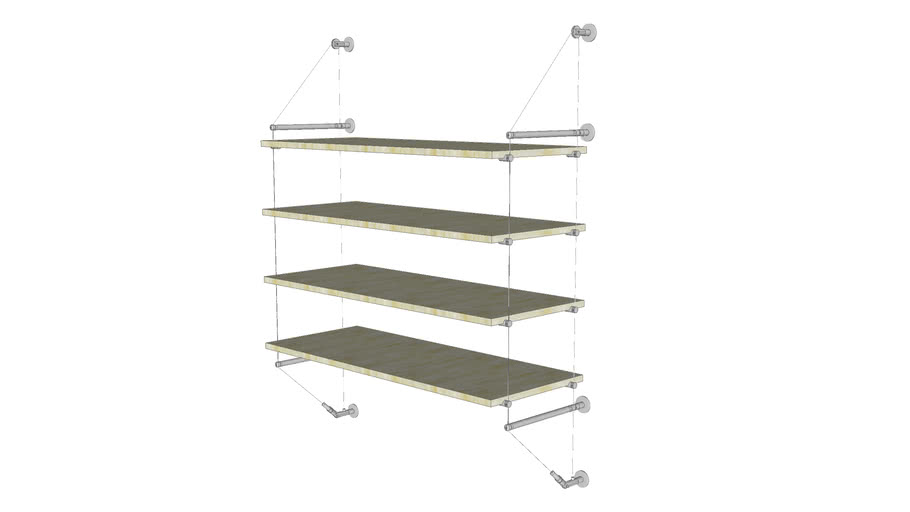 Cable Wall Unit - 4 Wood Shelves - Base