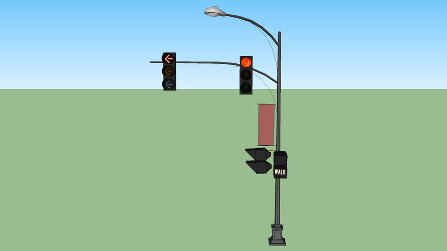 decorative traffic signal with left turn