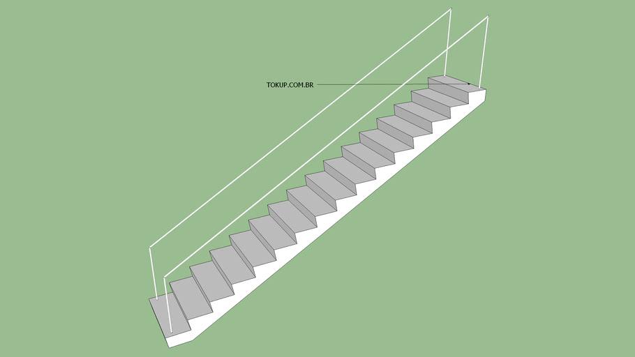 Escada Reta de um lance - largura de 90 cm