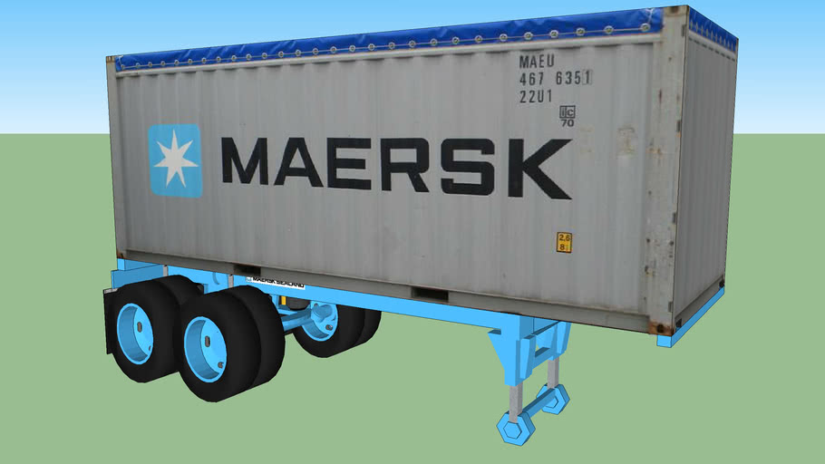 20' Foot MAERSK Open Top Container on MAERSK Chassis