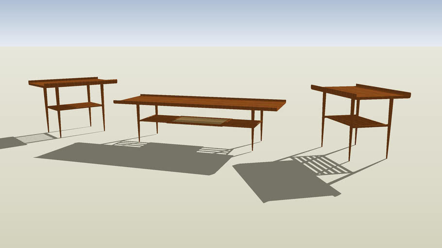 Danish modern coctail table and end tables
