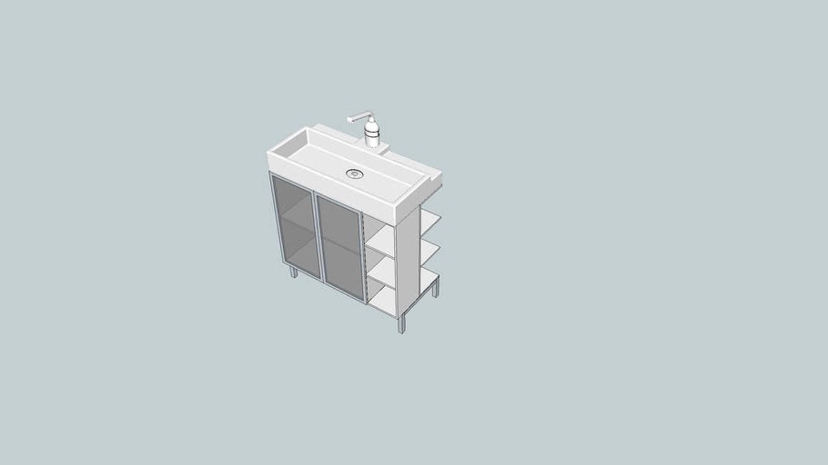 LILLÅNGEN Wash-basin cab 2 doors/ 2 end units alu/white 80cm wide
