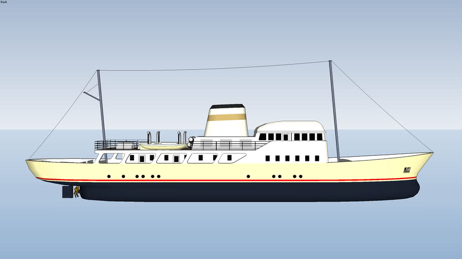 Low Poly Classic Ocean Liner Style Yacht