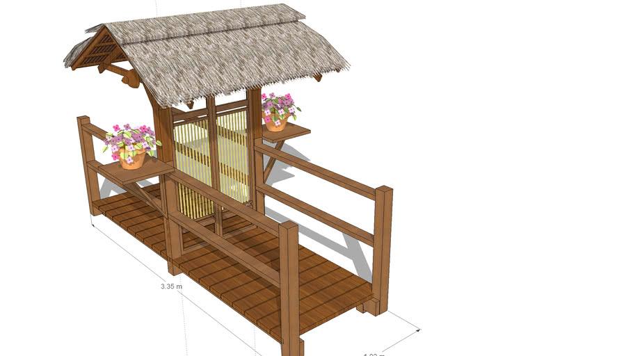 Bridge with bamboo gazebo