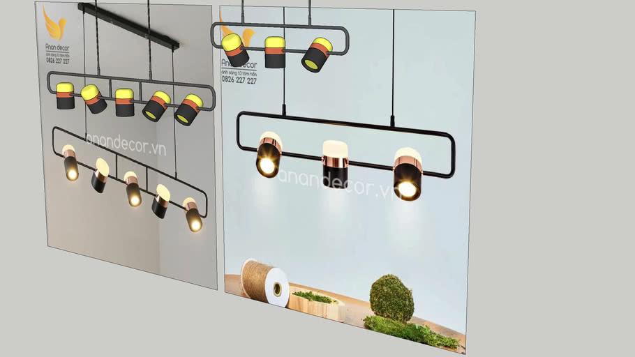 Đèn thả kiểu ngang chiếu rọi 3 bóng/5 bóng THCN 123B-19 (Modern Pendant Light)