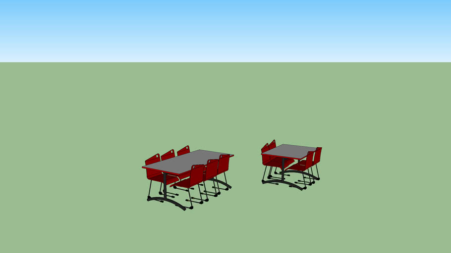tables et chaise rouge de cantine , restaurant et self