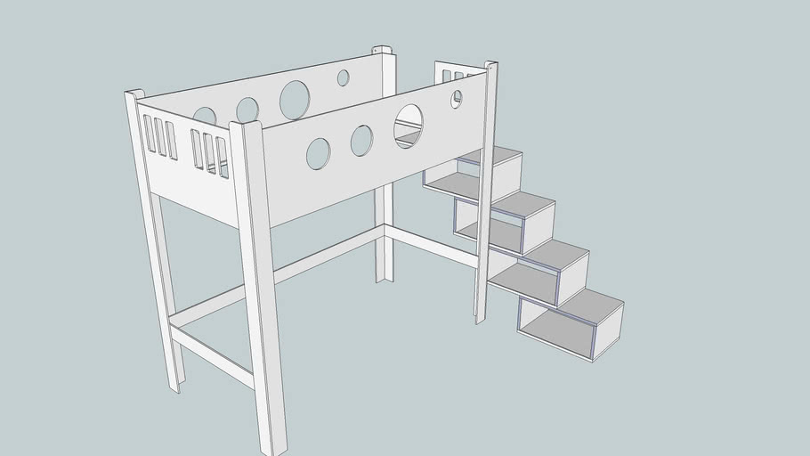 Loft bed with shelf as stair