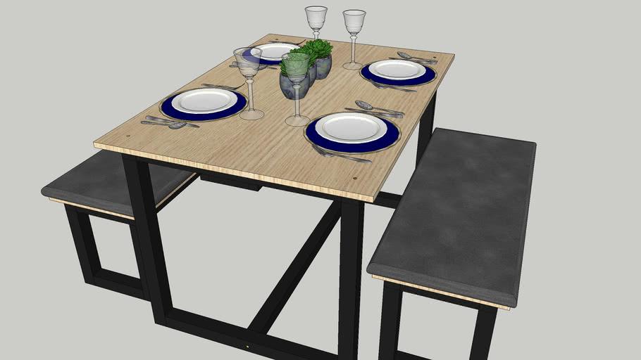 mesa de jantar e bancos estilo industrial