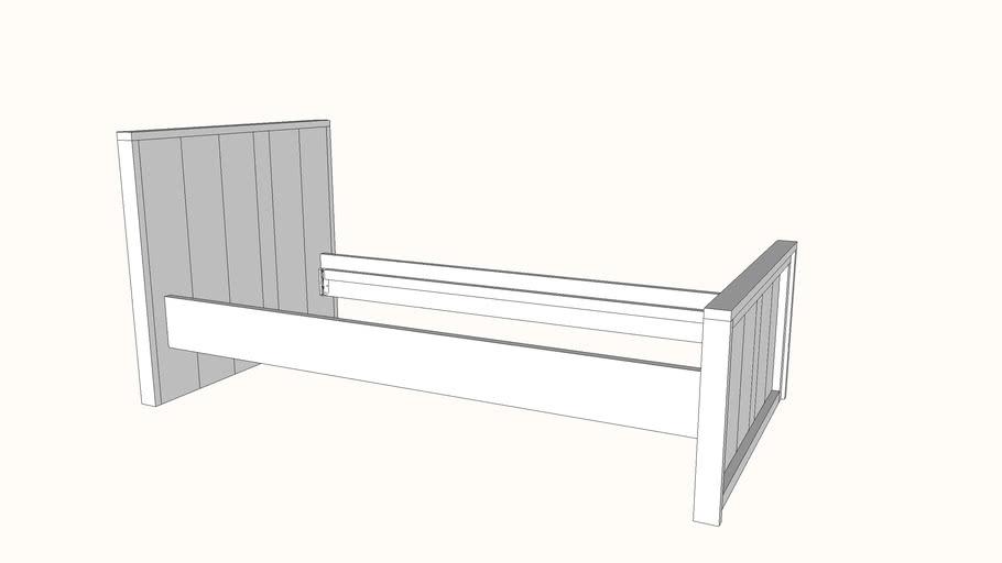 Bed steigerhout bouwpakket tekening