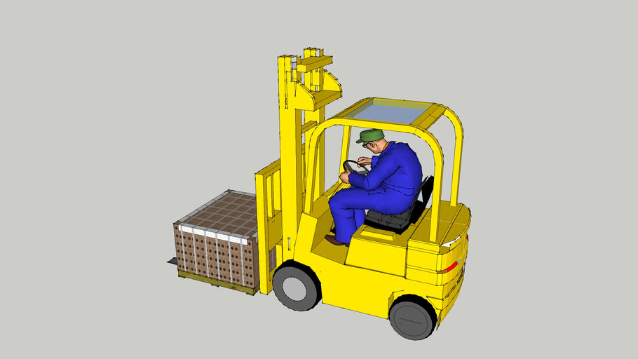 Person driving Forklift with Pallet