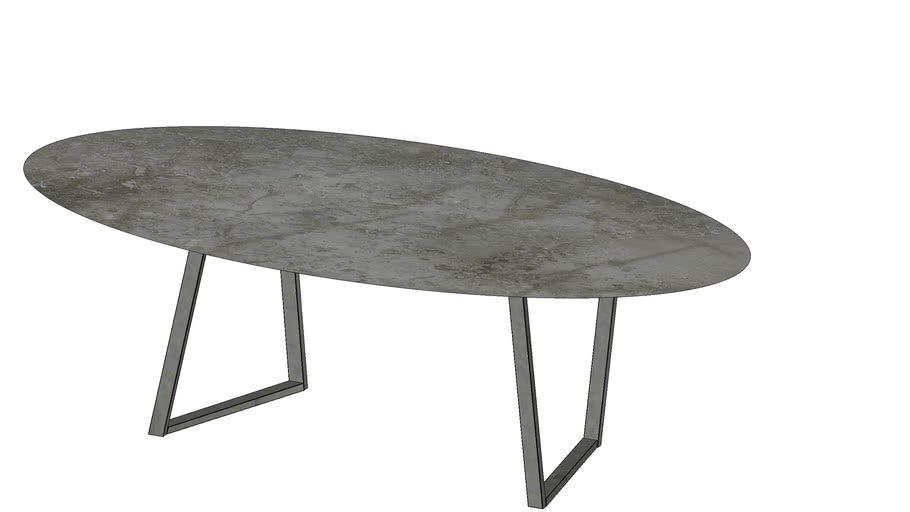 Dritto Oval Dining Table 240 x 120 Gris du Marais