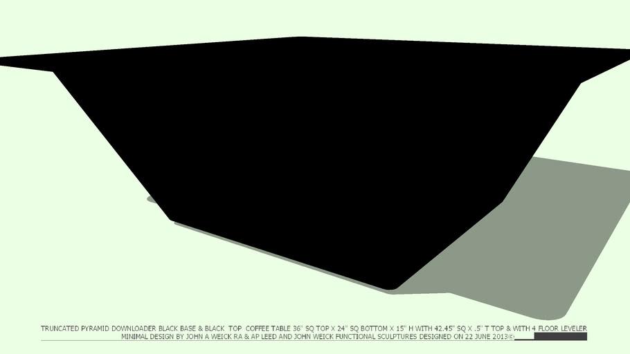COFFEE TABLE BLACK BASE TRUNCATED PYRAMID 42 BLACK TOP JOHN A WEICK RA