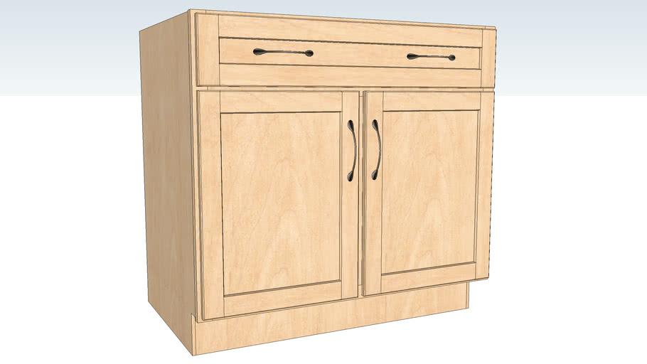 Base Double Door - Half Depth Shelf