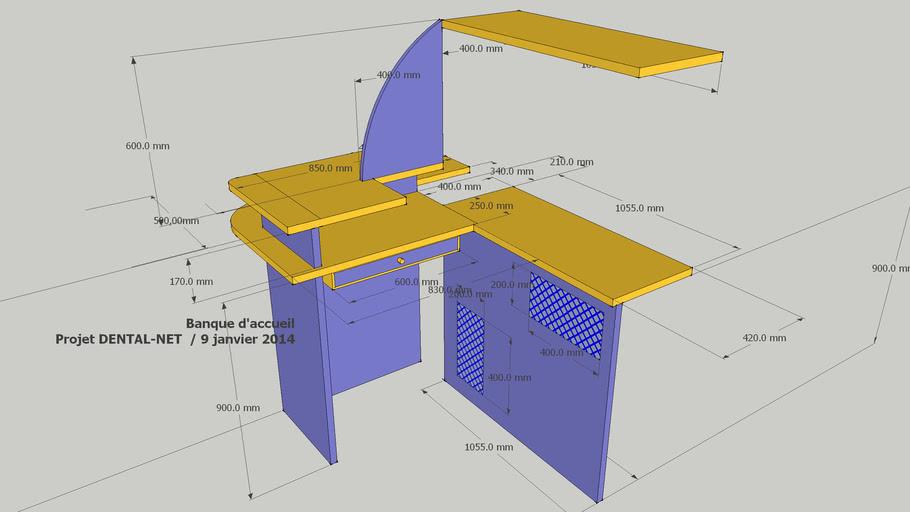 Banque D Accueil Avec Dimensions 3d Warehouse