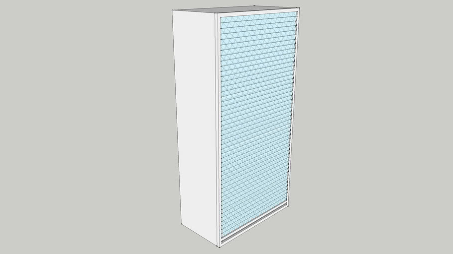 600 Wall Tambour Unit Transluzent Shutter with 1 Fixed & 2 Adjustable Shelves 600X300X1200 CID_CP10000187