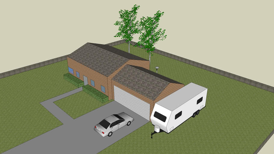 Small Brown House w/yard and car