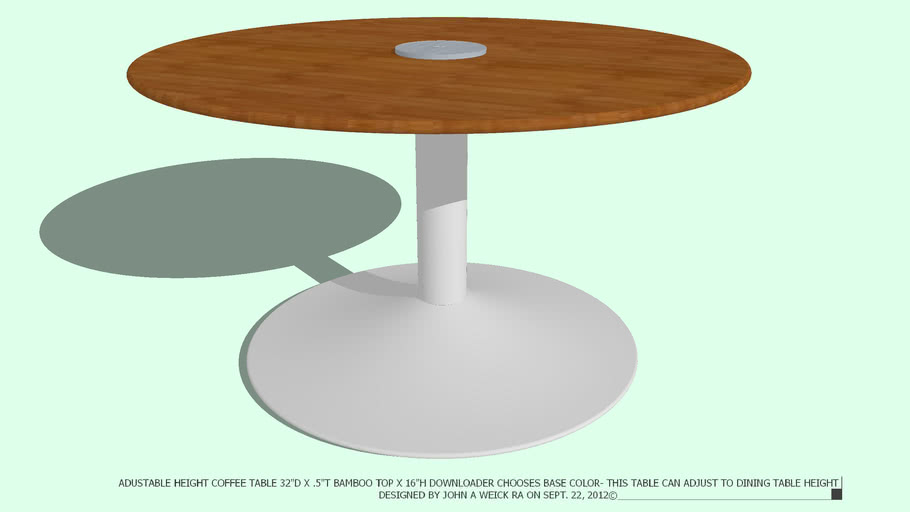TABLE COFFEE ADJ 32D CHOOSE BASE COLOR DESIGNED BY JOHN A WEICK RA