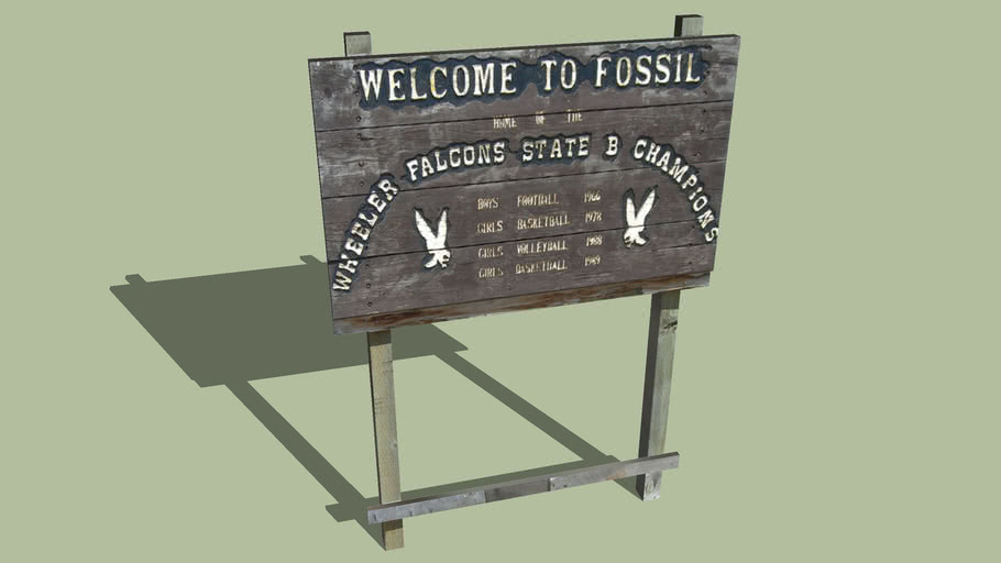 Welcome Sign Fossil, Oregon