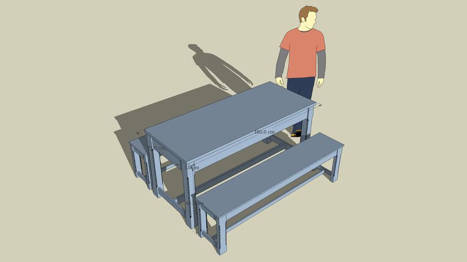 La Redoute - Table de ferme gris-bleue