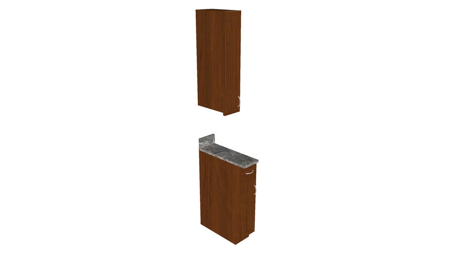 Kitchen Cabinet Insert at 8in  - Detailed