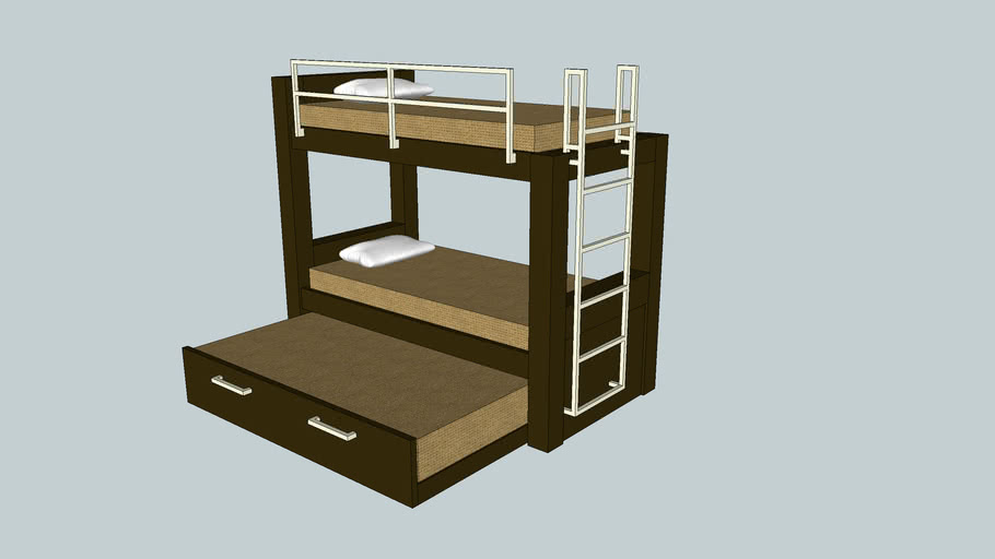 Contemporary Bunk Beds With Trundle Bed 3d Warehouse