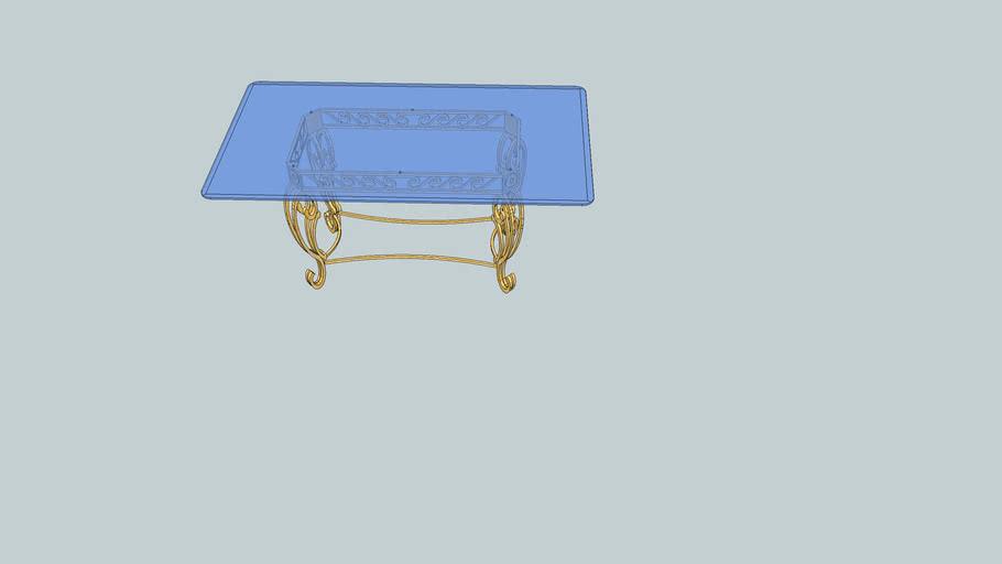 Table fer forgé + verre