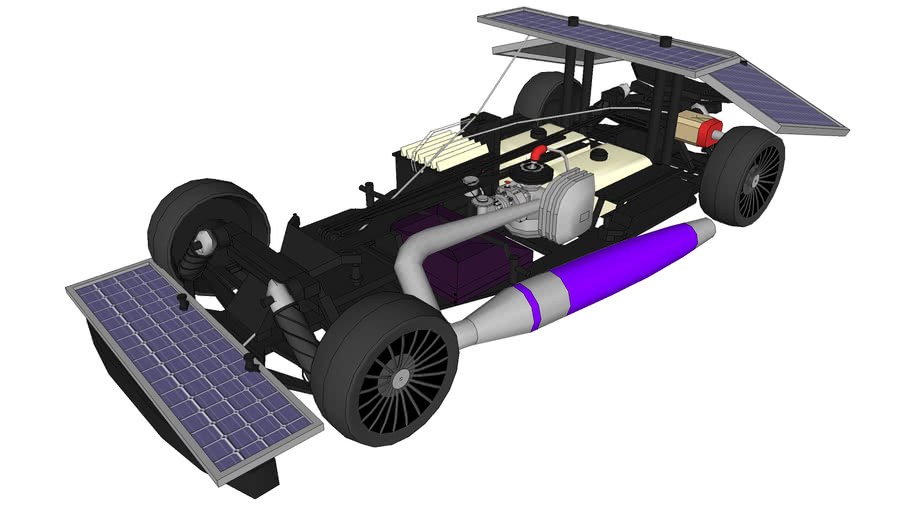 Nitro RC car powered by solar panels and gas