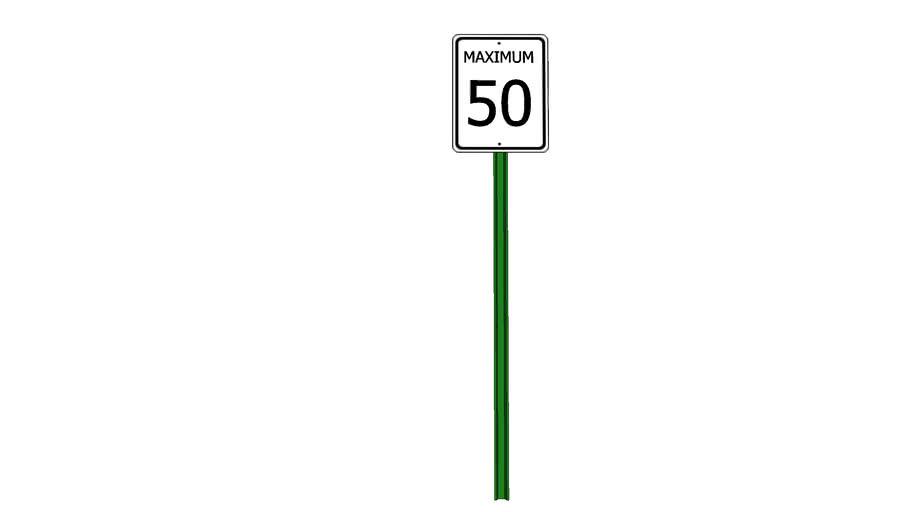 Maximum 50 kph Sign