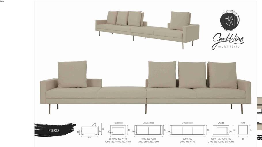 Sofá Piero - Três Assentos e Chaise