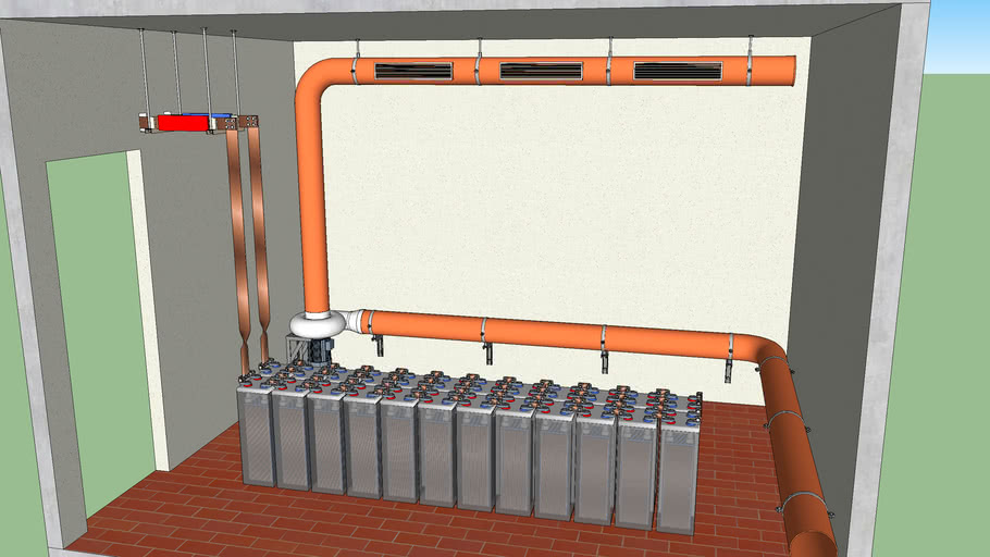 Sala Batterie con estrazione gas acidi  ---  Battery room with acid gas extraction
