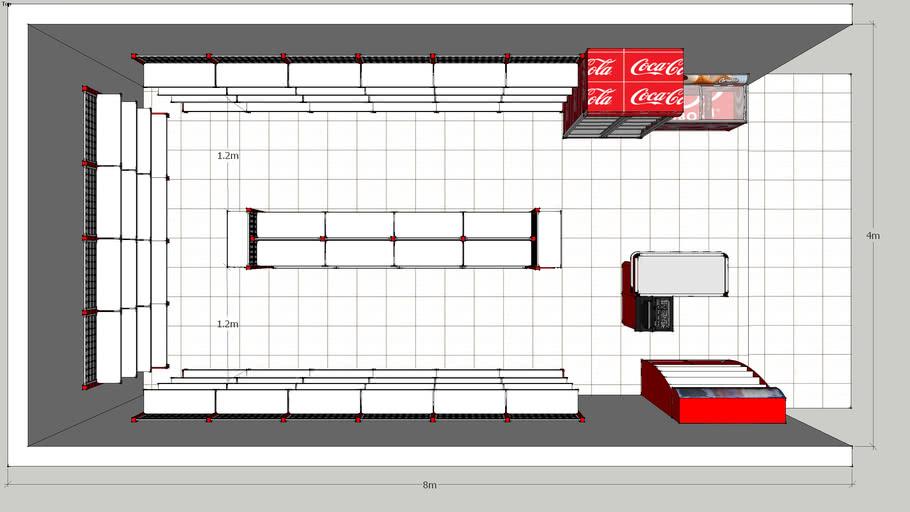 rak minimarket desain ruangan 4x8 | 3D Warehouse