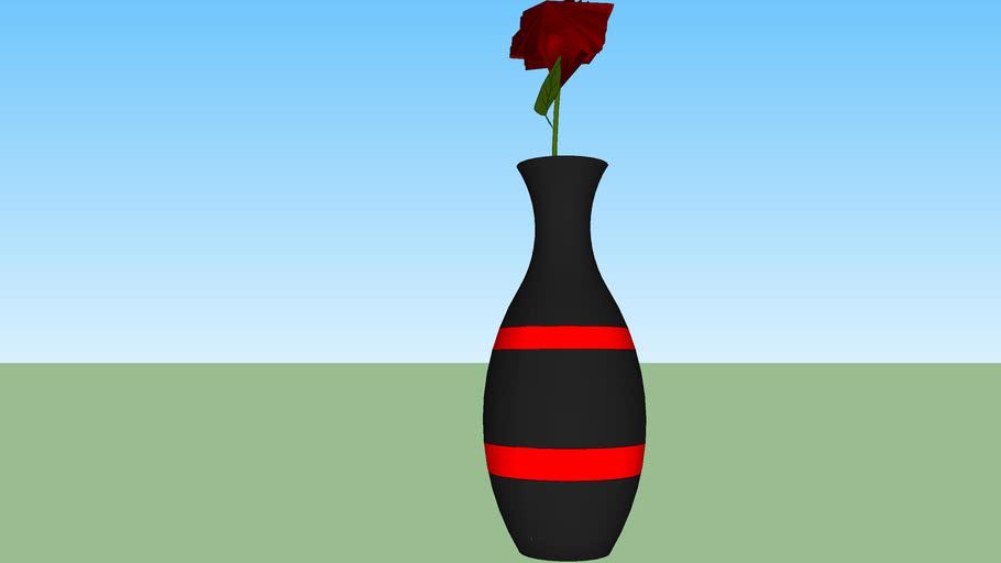 vase black  red