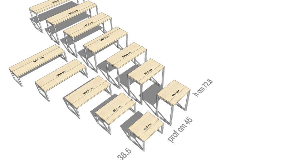 TABLE, STUDY TABLES, TAVOLI STUDIO/LETTURA prof cm 45