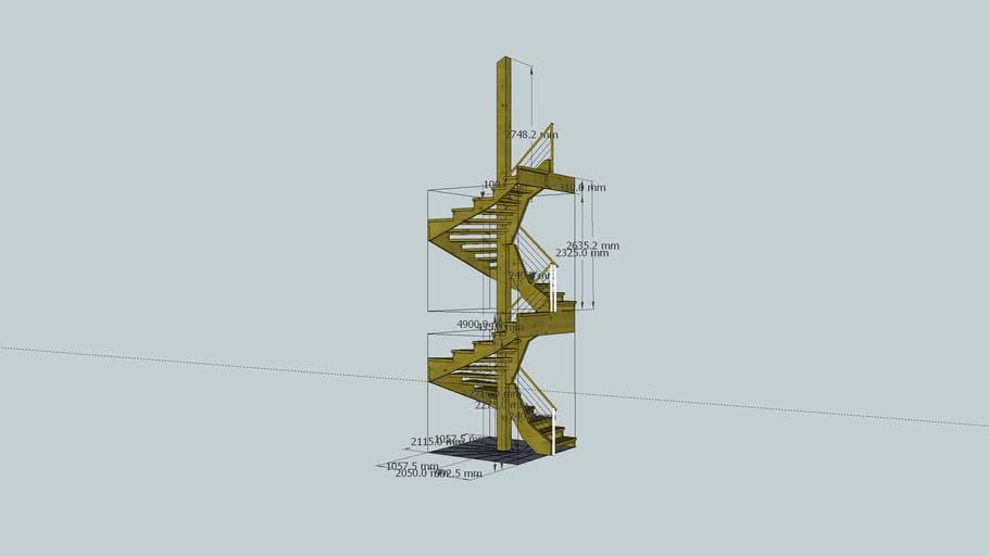 Spiral staircase in alpine chalet