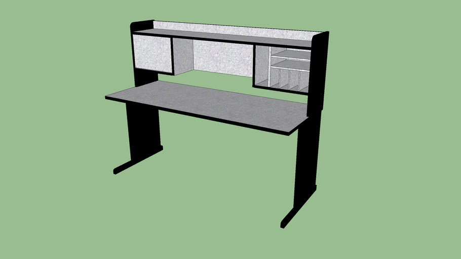 """Grey Desk with Hutch - 66""""x26"""""""