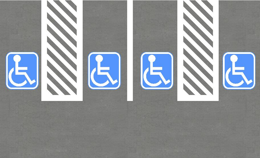 parking layouts and curbs for disabled