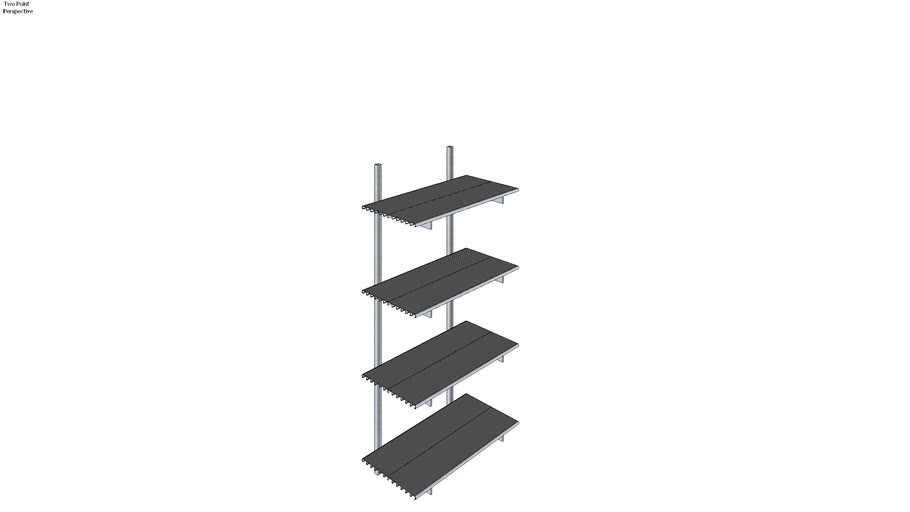 ISS Designs Modular Shelving - Wall Mounted System With Aluminum Shelves (W-01-SS4-12-1ALU)