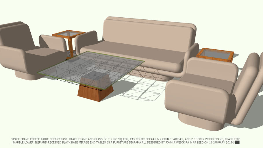 SOFA#1 2 CLUB CHAIRS#1 TABLE SPACE FRAME COFFEE DESIGNED BY JOHN A WEICK RA