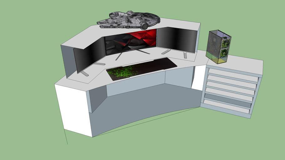 3 Monitor Corner desk design